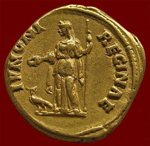 Coin showing Juno Regina, with scepter and paetera.