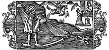 Ullr on his magical bone - from Olaus Magnus's book. Single skates were common until the 20th century in northern Europe.