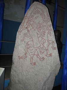 Rune stone from the Hunnestad Monument. Photo by Hedning.