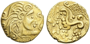 Celtic coin in the same style as the Solimara coins.