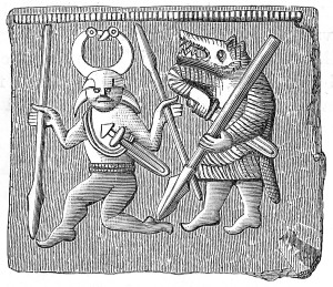 Warrior and Úlfheðinn, Vendel era bronze plate found on Öland, Sweden.