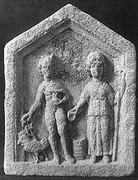 Rosmerta and Mercury, a stone plaque in the Gloucester Museum.