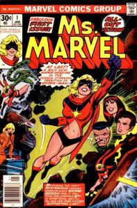 Carol Danvers as Ms. Marvel on the cover of Ms. Marvel #1 (January 1977). Art by John Romita, Sr.. (Wikimedia)