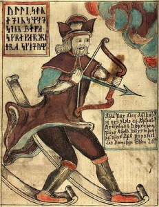 ullr with bow and skis