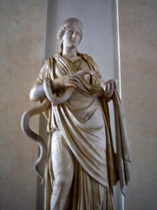 Hygeia with her snake - photo from Flickr (Anthony M.)