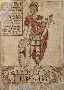 Tyr identified with Mars. 18th C. Icelandic Manuscript. (Wikipedia)