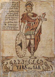 Tyr identified with Mars. 18th C. Icelandic Manuscript. (Wikipedia)