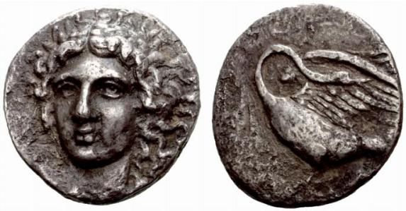 Coin showing Apollo and swan on reverse.