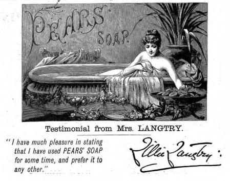 Early celebrity endorsment - Pear's soap.