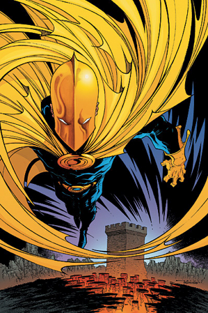 Promotional artwork for Countdown to Mystery #1 (Nov. 2007), featuring Kent V. Nelson as Doctor Fate. Cover art by Justiniano.