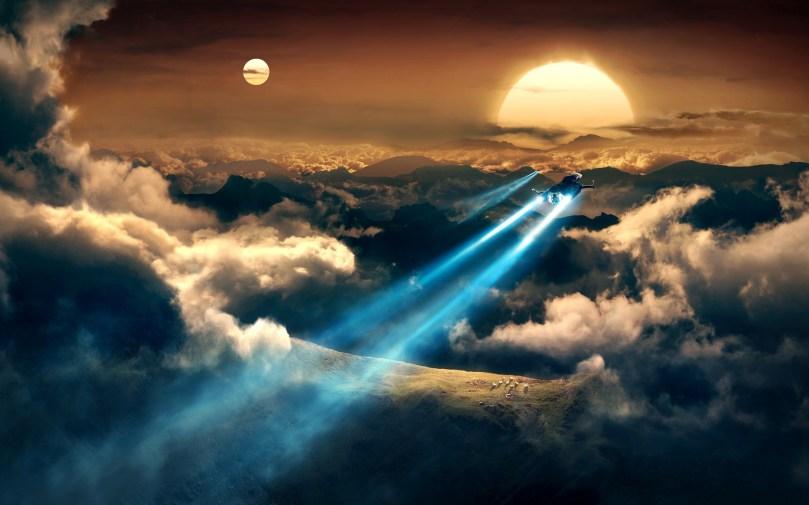 space-shuttle-clouds-sun-moon-wide-hd-wallpaper