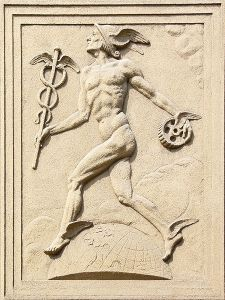 Relief of Mercury, photo by Michal Maňas. Wikimedia.