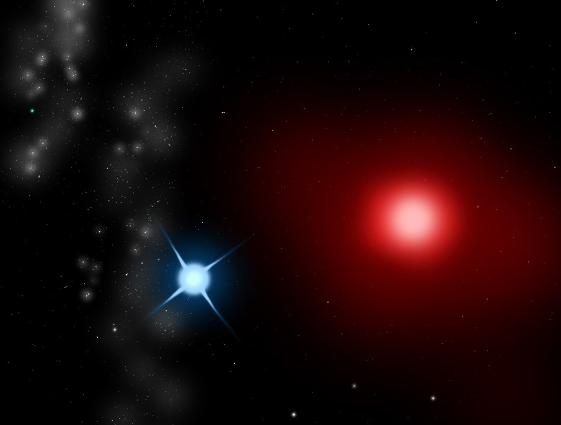 Antares A and B. From Wikimedia commons, image by Sephirohq.