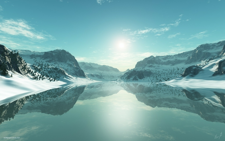 ice blue landscapes seasons artwork lakes 3d icy 1920x1200 wallpaper_www.wallpaperfo.com_90
