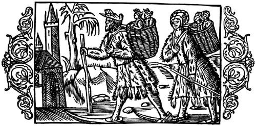 Olaus Magnus Historia om de nordiska folken. Bok 4 - Kapitel 17 - Om barnadop bland skogsbygdens folk. - Utgivningsår 1555.