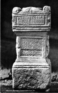 Altar to Jupiter Dolichenus and Caelestis Brigantia from Corbridge, on a 1910 postcard - Wikimedia