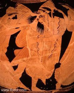 Boreas carrying off Oreithyia, from a 5th century red-figure vase.