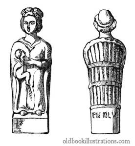 Terracotta statuette found at Le Châtelet-sur-Meuse bearing the inscription pistillus. Lucina is an epithet referring to Juno as goddess of childbirth.