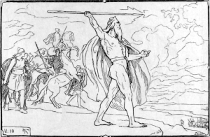 Óðinn throws his spear at the Vanir host in an illustration by Lorenz Frølich (1895). Wikimedia.