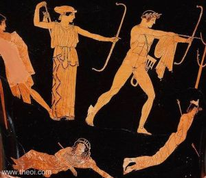 Apollo and Artemis slay Niobe's children. Theoi.com