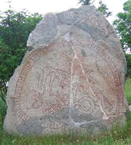 The Boksta rune stone, possibly showing Ullr and Odin.